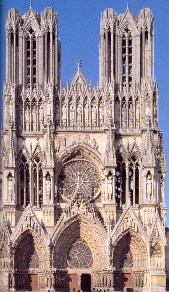 Notre Dame de Reims, showing its exquisite sculpture, tracery, and stained glass. Exterior view